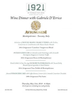 1921 Wine Dinner with Avignonesi from Tuscany, Italy @ 1921 by Norman Van Aken | Mount Dora | Florida | United States